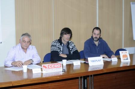 Representantes de UGT, SEPLA y CC.OO.