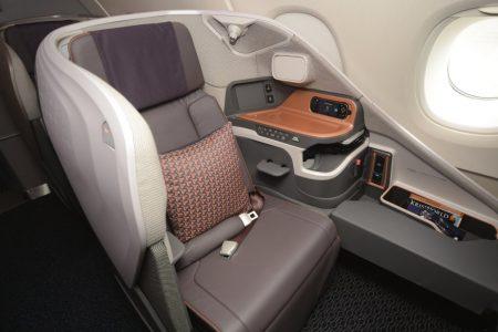 Nuevo asiento de clase business en el A380 de Singapore Airlines.