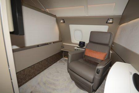 Suite de primera clase del A380 de Singapore Airlines.