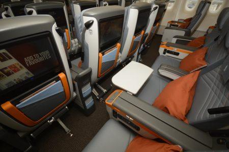 Asientos de turista oremium en los nuevos airbus A380 de Singapore Airlines.
