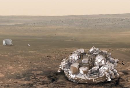 Ilustración de la sonda Schiaparelli sobre Marte.