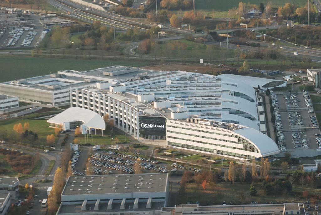 Sede francesa de Airbus Defence and Space en Elancourt (suroeste de París), todavía con su antiguo nombre de Cassidian.