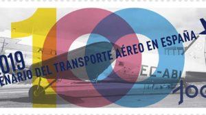 Sello de dedicado por Correos de España al centanario de la aviación comercial en Españ.