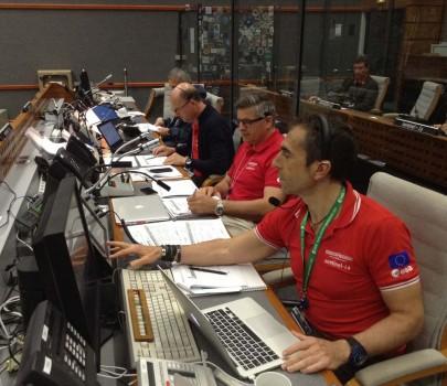 Sala de control de lanzamientos en la base espacial de Kourou.