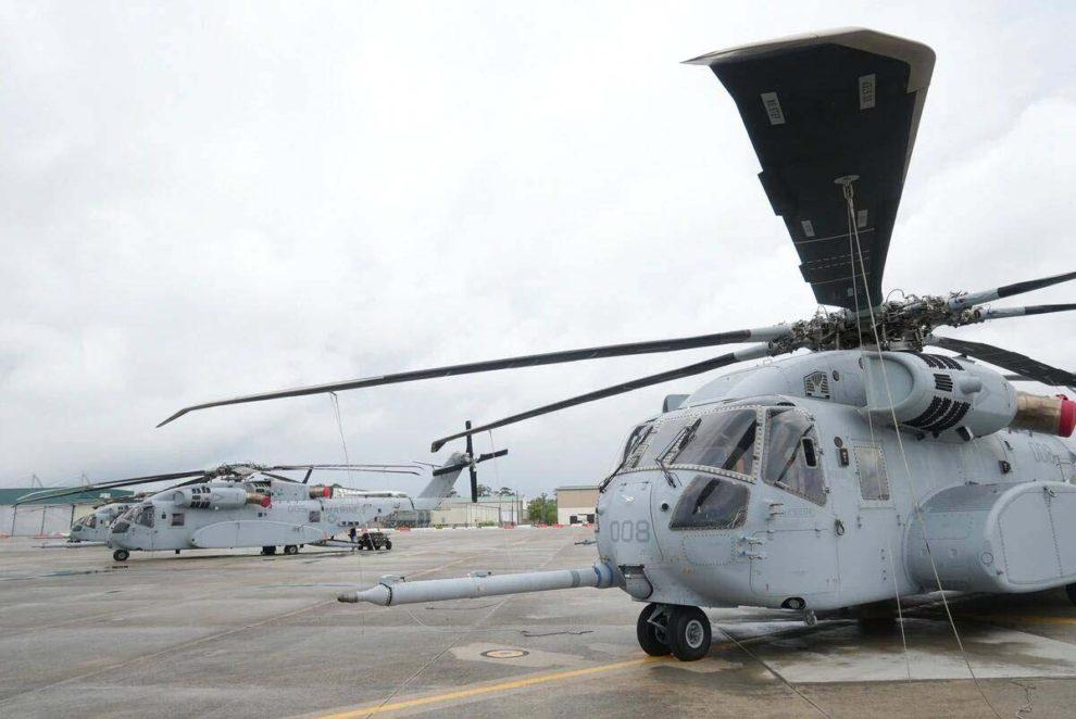 Los tres Sikorsky CH-53K ya entregados a los Marines.