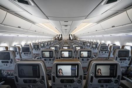 Asientos de clase turista en el Airbus A350 de Singapore Airlines.