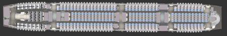 Plano de asientos de la cubierta inferior de los nuevos Airbus A380 de Singapore Airlines.