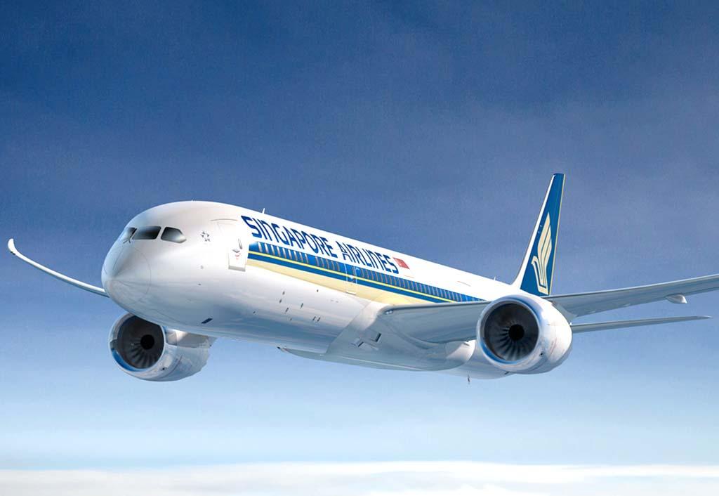 Ilustración de un Boeing 787 con colores de Singapore Airlines.