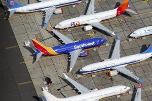 Boeing 737 MAX 7 de Southwest alamcenado a la espera de su entrega, entre otros B-737 MAX.