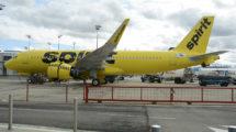 Airbus A320neo de Spirit en el centro de entregas de Airbus en Toulouse.