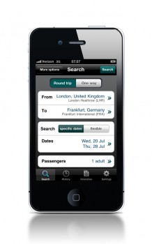 Farefinder en un iPhone
