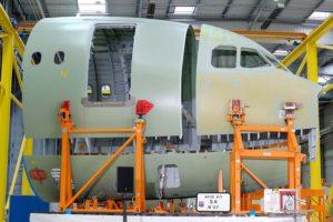 Las tres secciones que forman el morro del Airbus A321XLR producidas pòr Stelia.