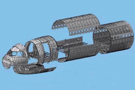 Diagrama con las secciones que forman el fuselaje delantero del Airbus A321XRL.