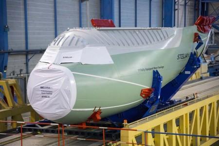 Sección del cockpit del primer Airbus Beluga XL entregada por Stelia Aerospace.