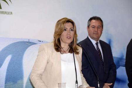Suisana Díaz y el alcalde de Sevilla en la inauguración de ADM Sevilla 2016.