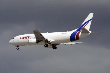 Swiftair incorporó el B-737 EC-MFE el 19 de marzo de 2015 tras su conversión a carguero.