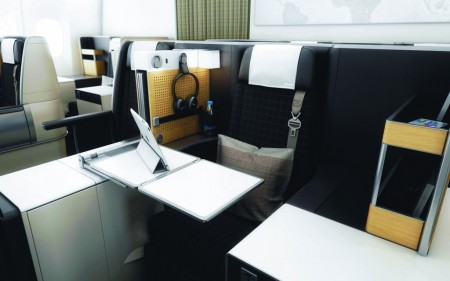 Asientos de clase business de los Boeing 777 de Swiss.