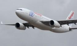 El Airbus A330 de Air Europa que participó en Aire 75, con una espectacular demostración, portaba el nombre de Vicente del