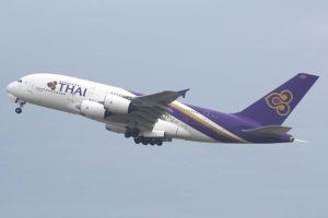 El Airbus A380 HS-TUF, uno de los dos que thai ha puesto en venta.