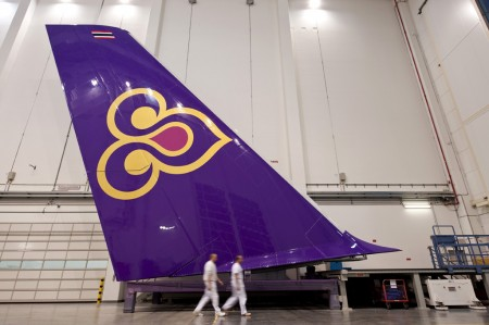 Deriva vertical del primer Airbus A380 de Thai Airways.