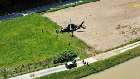 Vista de la zona donde aterrizó en emergencia el Tigre ET-722 de FAMET en Eslovenia.