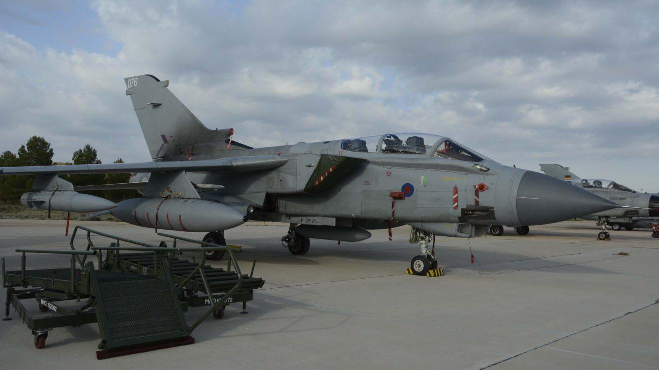 El Tornado GR.4 ZA614 de la RAF. Uno de los dos ejemplares de este modelo presentes en la exposición estática en la base aérea de Los Llanos. Reino Unido fue uno de los seis países que fundaron el TLP en 1978.