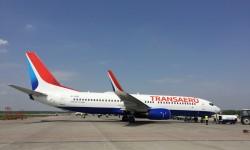 Boeing 737-800 con los nuevos colores de Transaero, uno de los aviones entregados por Boeing en la primera mitad de 2015.
