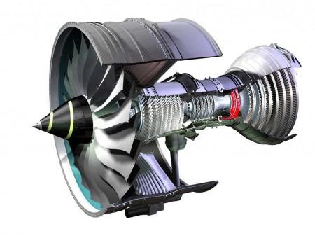 Esquema del motor Rolls-Royce Trent 1000. Señalado en rojo el disco de la turbina de media presión que causa el problema en los motores de ANA.