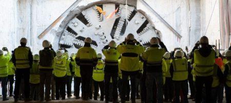 Final de los trabajos, en 2018, de la tuneladora en el nuevo acceso ferroviario a la T1 del aeropuerto de Barcleona El Prat .