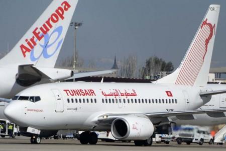 Boeing 737 de Tunisair en el aeropuerto de Madrid Barajas.
