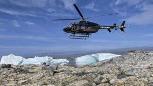 El Bell 407 GXi UR-RAH en Groenlandia durante el vuelo de entrega de Canadá a Ucrania.