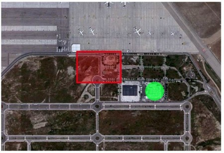Ubicación del futuro hangar de Air Europa (en rojo) y de Newrest (en verde).