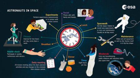 Así es un día en la Estaciñon Espacial Internaxional.