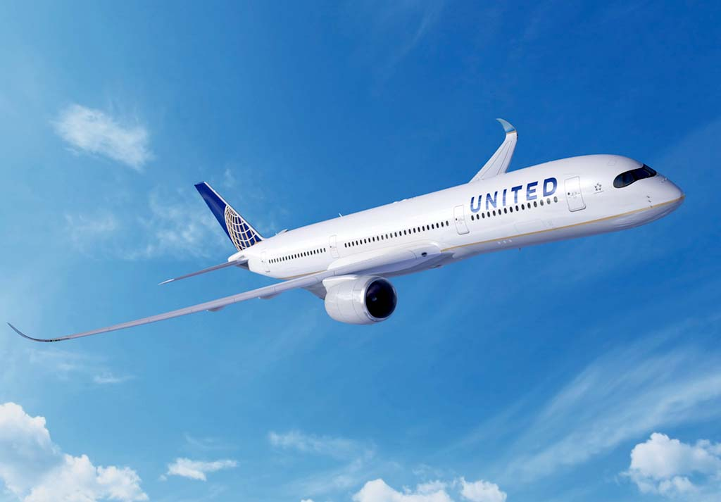 Ilustración de un A350-900 con colores de United.
