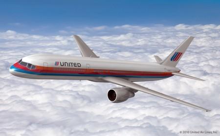 Decoración retro para los aviones de United