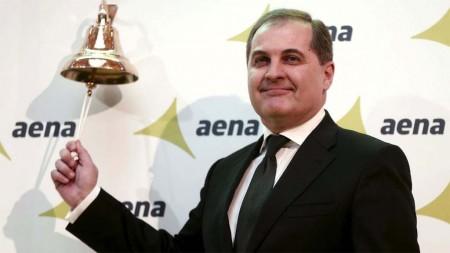 Jose Manuel Vargas, presidente de AENA el día que la empresa comenzó a cotizar en bolsa.