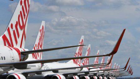 Aviones de Virgin Australia parados por el COVID-19.