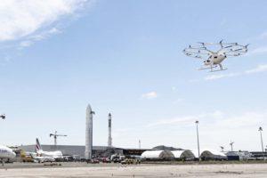 El Volocopter 2X durante su vuelo en Le Bourget.