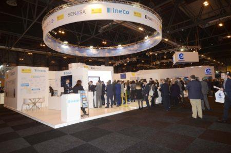 Stand de las empresas del grupo del Ministerio de Fomento en el World ATM Congress 2018.