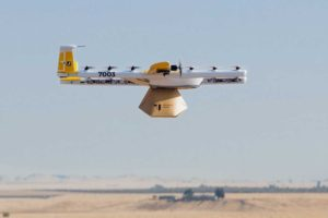 Modelo de drone usado popr Wing Aviation para sus pruebas de transporte de carga.