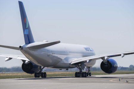 El A350 EC-NOI rodando en Toulouse para despegar hacia Madrid.