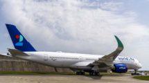 El primer Airbus A350 de World2Fly en Toulouse poco antes de su primer vuelo.