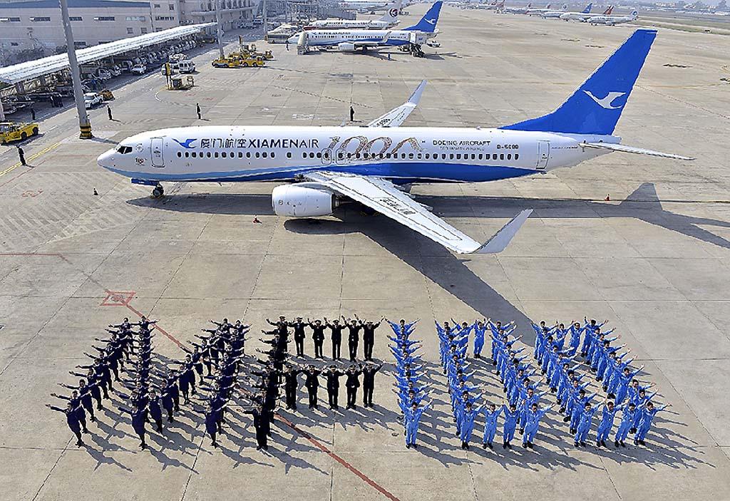 Celebración de la entrega del B-737 número 100 de Xiamen Airlines.