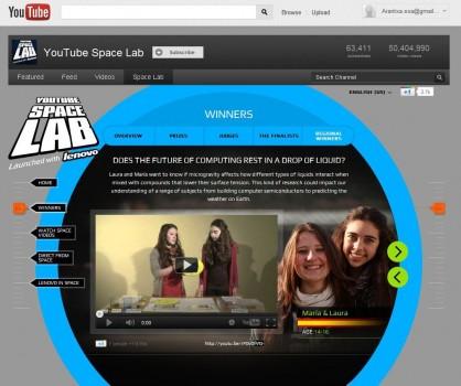 Captura de pantalla del vídeo de las dos gallegas ganadoras del concurso YouTube Space Lab