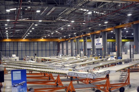 Cadena de montaje de los estabilizadores horizontales del Airbus A320 en Getafe