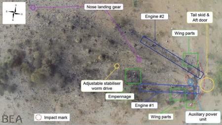 Vista aérea de la zona de los restos.