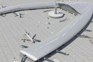 Una de las diferentes propuestas de diseño de la terminal satélite prevista para el aeropuerto de Barcelona-El Prat