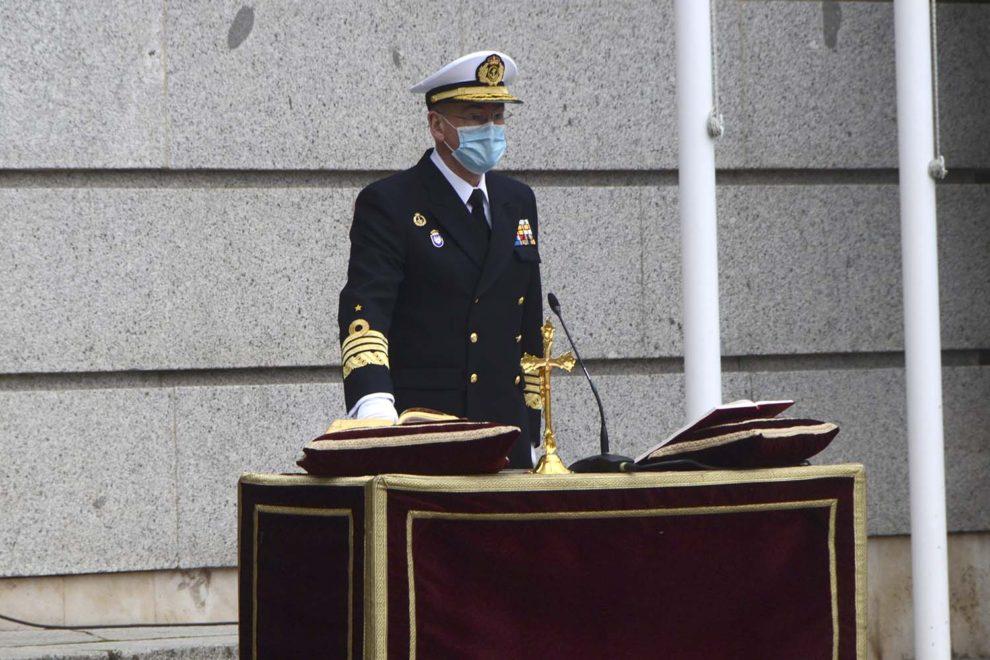 El almirante Teodoro López Castejón durante su juramento como nuevo JEMAD.