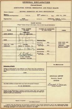 Declaración de Aduanas del vuelo Apollo 11 al regreso de la Luna