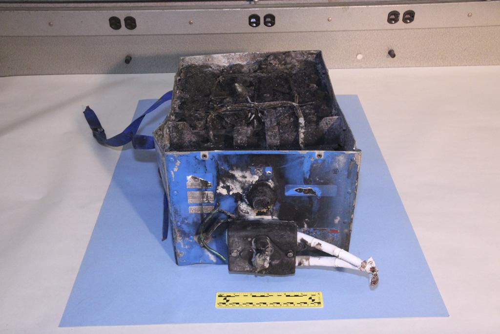 Batería incendiada de un Boeing 787